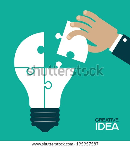 Puzzles in the form of a  light bulb. Human hand inserts the missing puzzle in his bulb. Concept of big idea. Complete The idea - stock vector