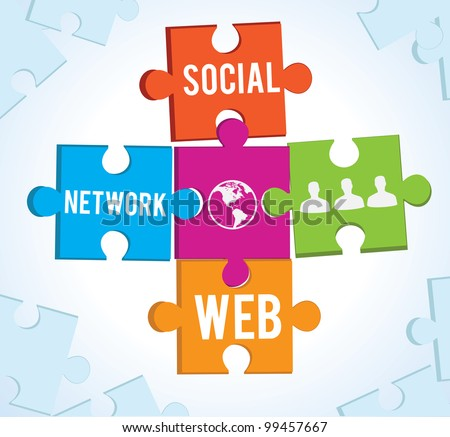 puzzles of the social network - vector illustration - stock vector