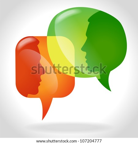 Puzzles with people form a Speech Bubble. Concept communication. File is saved in AI10 EPS version. - stock vector