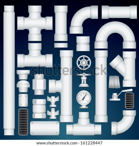 PVC Pipeline Construction. Kit Include Plastic Straight Pipe Parts, Connectors, Valve, Grills, Curve Elbows. Vector Customizable Kit - stock vector
