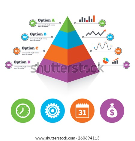 Pyramid chart template. Business icons. Calendar and mechanical clock signs. Dollar money bag and gear symbols. Infographic progress diagram. Vector - stock vector