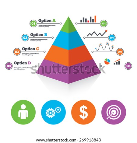 Pyramid chart template. Business icons. Human silhouette and aim target with arrow signs. Dollar currency and gear symbols. Infographic progress diagram. Vector - stock vector