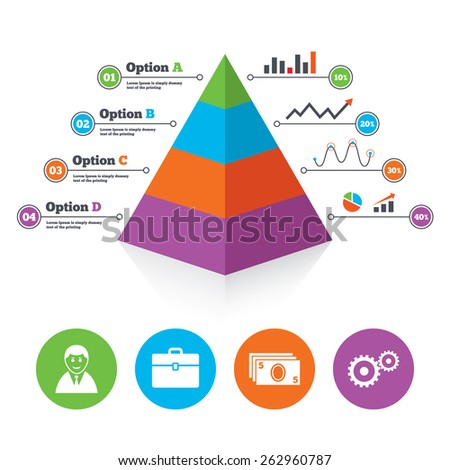 Pyramid chart template. Businessman icons. Human silhouette and cash money signs. Case and gear symbols. Infographic progress diagram. Vector - stock vector