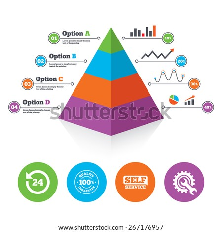 Pyramid chart template. Repair fix tool icons. 24h Customer support service signs. 100% quality guarantee symbol. Cogwheel gear with wrench key. Infographic progress diagram. Vector - stock vector