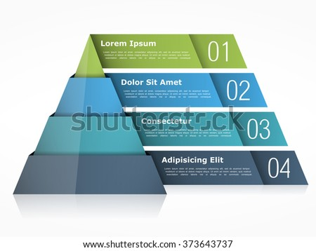 Pyramid chart with four elements, vector eps10 illustration - stock vector