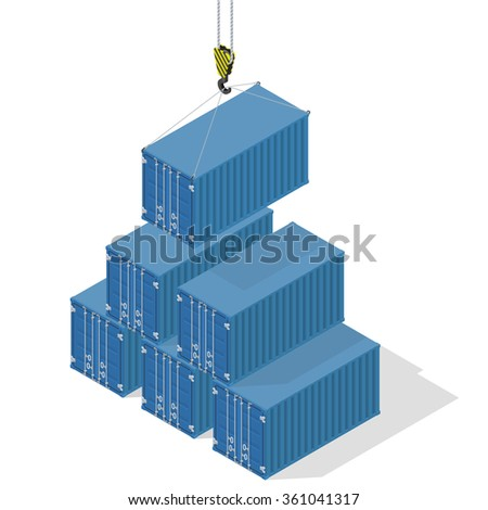 pyramid of sea containers. The top container lowered the crane - isometric illustration with shadows. - stock vector