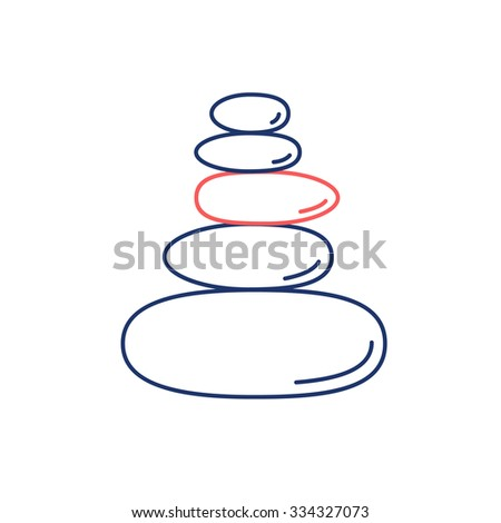 Pyramid of the balancing stones red and blue linear icon on white background | flat design alternative healing illustration and infographic - stock vector