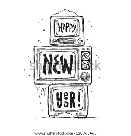 pyramid of three televisions, standing on each other and show the words Happy New Year - stock vector