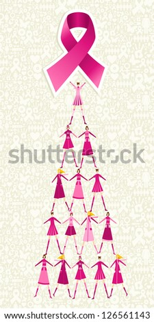 Pyramid of women holding one pink breast cancer ribbon on icon set background. Vector file layered for easy manipulation and custom coloring. - stock vector