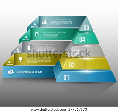Pyramid with icons long shadows for business concept. can use for planing, education diagram,data flow, marketing plan, brochure object, business element. - stock vector