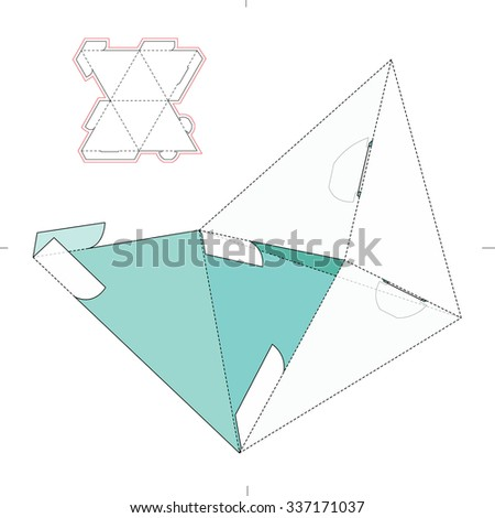 Pyramidal Box with Die Cut Template - stock vector