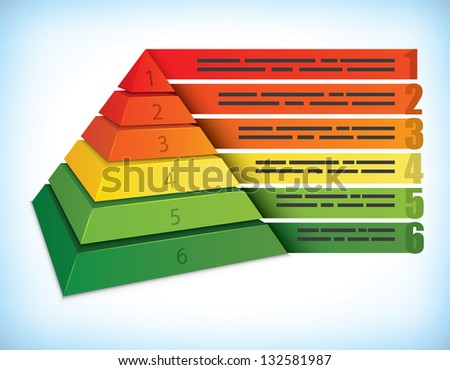 Pyramidal presentation template with six step, can be used for ecology and other marketing concepts - stock vector