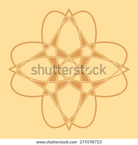Pyrography abstract flower isolated on the beige background. - stock vector