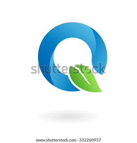 Q letter business logo design template. Abstract vector elements for corporate identity emblem, label or icon of eco friendly company - stock vector