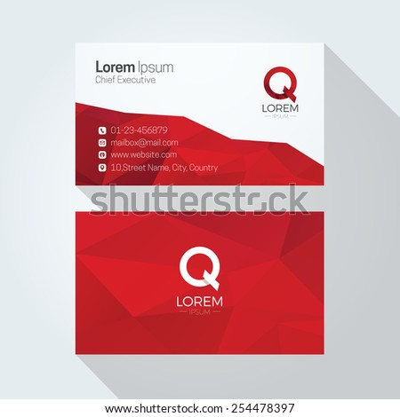 Q Letter Logo Abstract Polygonal Background Business card template - stock vector