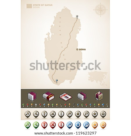 Qatar and Asia maps, plus extra set of isometric icons & cartography symbols set - stock vector