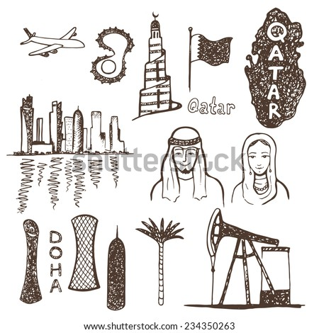 Qatar country. Hand drawn illustrations collection. - stock vector