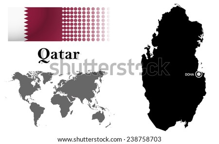 Qatar info graphic with flag , location in world map, Map and the capital ,Doha, location.(EPS10 Separate part by part) - stock vector