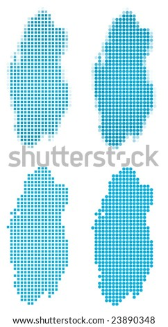 Qatar map mosaic set. Isolated on white background. - stock vector