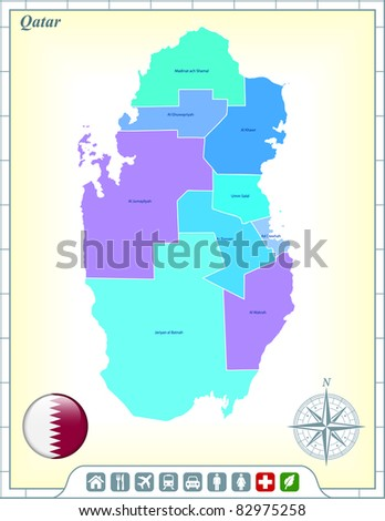 Qatar Map with Flag Buttons and Assistance & Activates Icons Original Illustration - stock vector