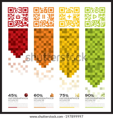 QR Code Business Infographics Banner And Background Design Template - stock vector