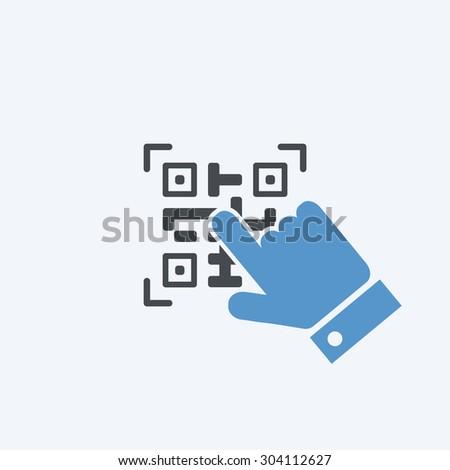 Qr code button - stock vector