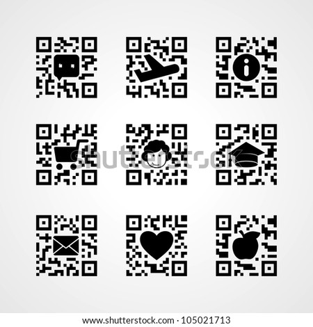 QR code concept icons set - stock vector