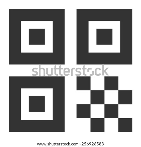 QR code flat icon for apps - stock vector