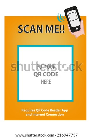 QR Code frame with Hand holding Smartphone to Scan. - stock vector