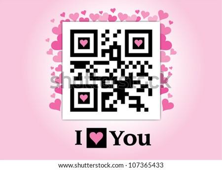 Qr code I love you - stock vector