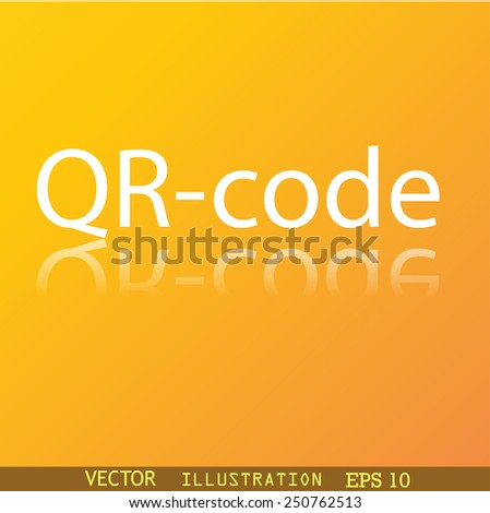 Qr code icon symbol Flat modern web design with reflection and space for your text. Vector illustration - stock vector