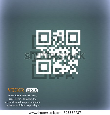 Qr code icon symbol on the blue-green abstract background with shadow and space for your text. Vector illustration - stock vector
