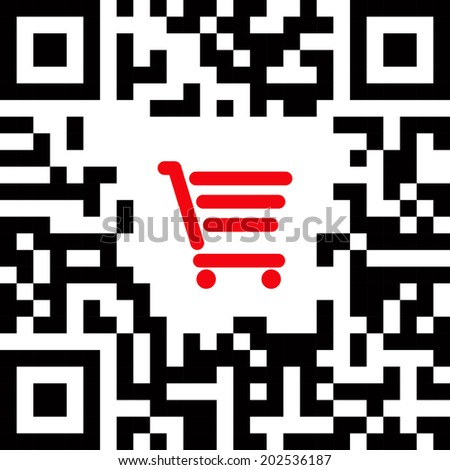 QR code label sign with red shopping cart icon. - stock vector