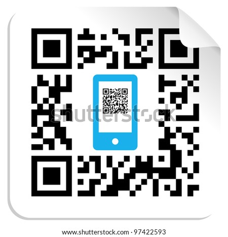 QR code label with the blue mobile icon. Vector file available. - stock vector