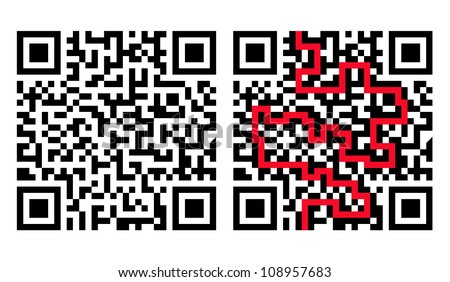 QR Code Maze with Solution in Red (grouped separately) - stock vector