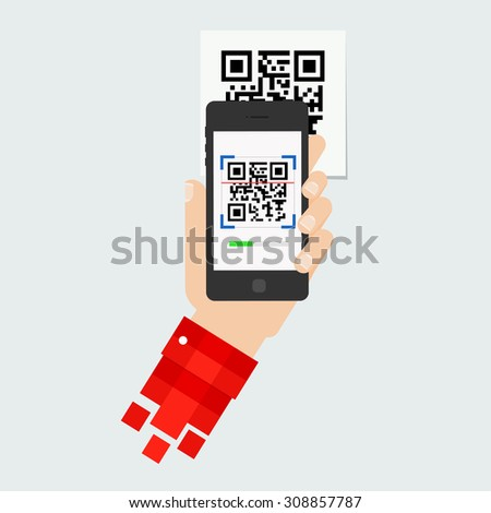 QR code scanning or capture mobile phone. Icon recognition or reading qr code in flat style. - stock vector