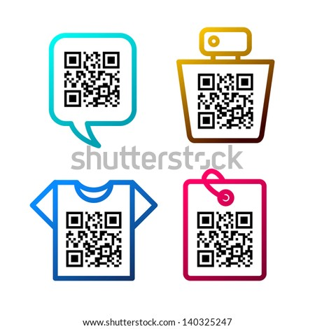 QR-Code. Set of icons - stock vector