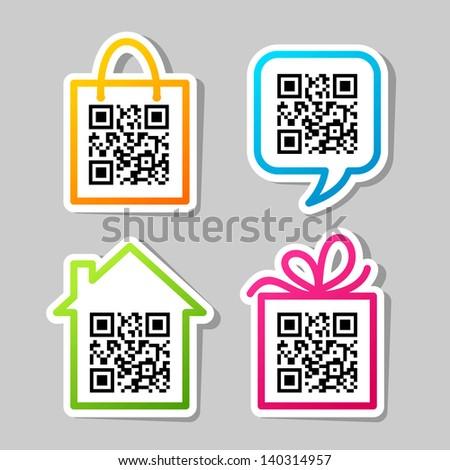 QR-Code. Set of stickers - stock vector