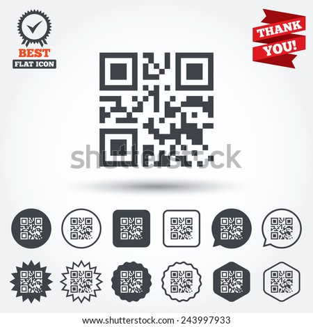 Qr code sign icon. Scan code symbol. Coded word - success! Circle, star, speech bubble and square buttons. Award medal with check mark. Thank you. Vector - stock vector