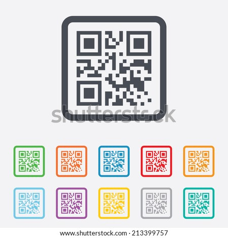 Qr code sign icon. Scan code symbol. Coded word - success! Round squares buttons with frame. Vector - stock vector