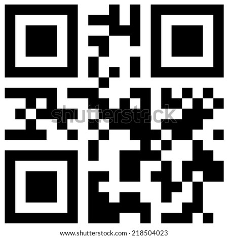 "QR code with hidden text ""Happy New Year!"" in classic black and white colors - stock vector"