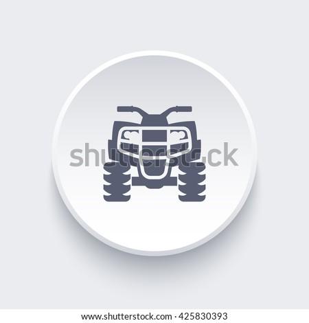 quad bike, atv, quadricycle icon on round shape, vector illustration - stock vector