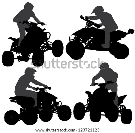 Quad bike Silhouette on white background - stock vector