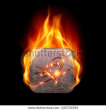 Quadrangular stone with magic rune in orange flame - stock vector