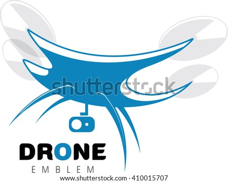 Quadrocopter emblem. Radio controlled aerial camera. Vector illustration - stock vector