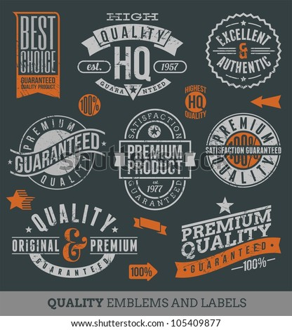Quality and guaranteed - vector signs, emblems and labels - stock vector