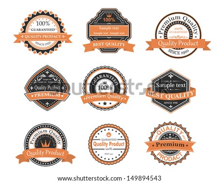 Quality and warranty labels set in retro style. Jpeg version also available in gallery - stock vector