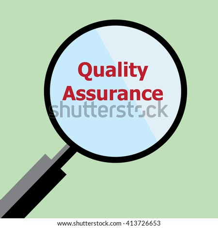Quality Assurance concept;magnifying glass-vector - stock vector