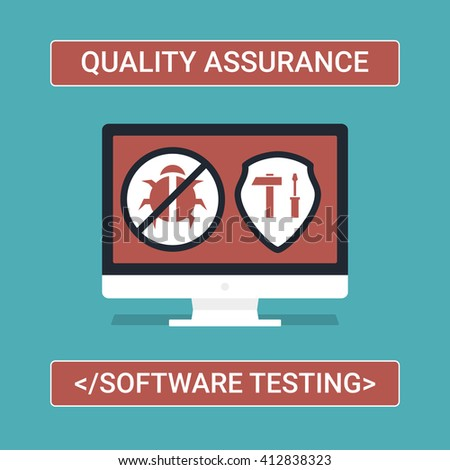 Quality Assurance Flat Icons. Bug and Security Conceptual Vector Illustration. Successful Software Development. - stock vector