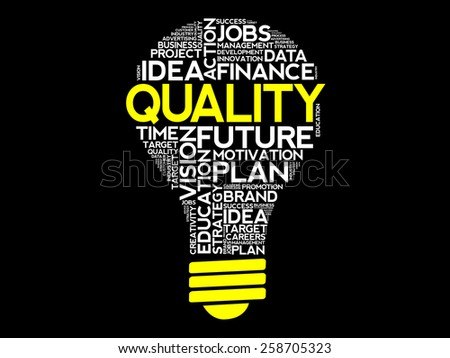 QUALITY bulb word cloud, business concept - stock vector